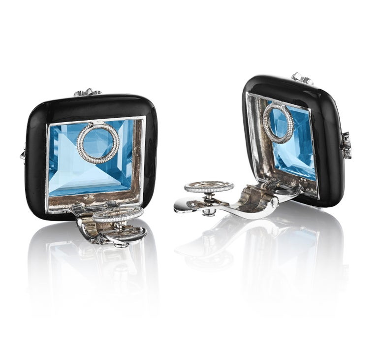 Square Cut Siegelson NY Ceramic Diamond and Aquamarine Ear Clip Earrings For Sale