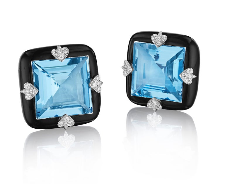 Siegelson NY Ceramic Diamond and Aquamarine Ear Clip Earrings In New Condition For Sale In New York, NY