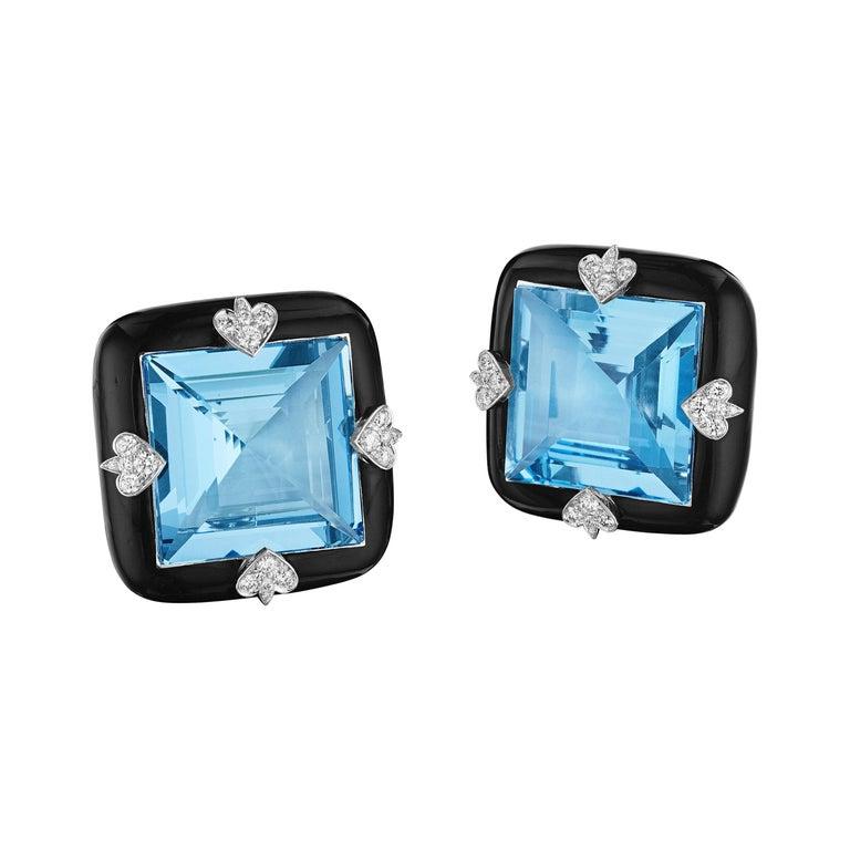 Siegelson NY Ceramic Diamond and Aquamarine Ear Clip Earrings For Sale
