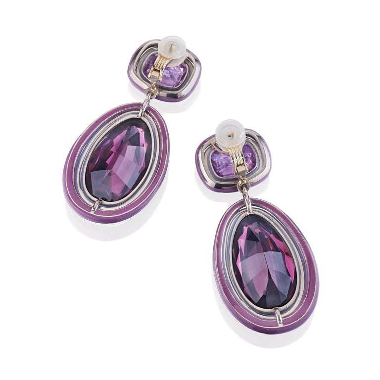 Pear Cut Siegelson Spinel and Amethyst White Gold Purple Chroma Ear Clip Earrings For Sale