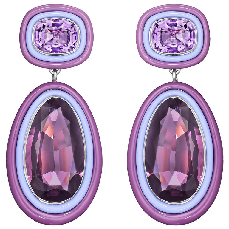 Siegelson Spinel and Amethyst White Gold Purple Chroma Ear Clip Earrings For Sale