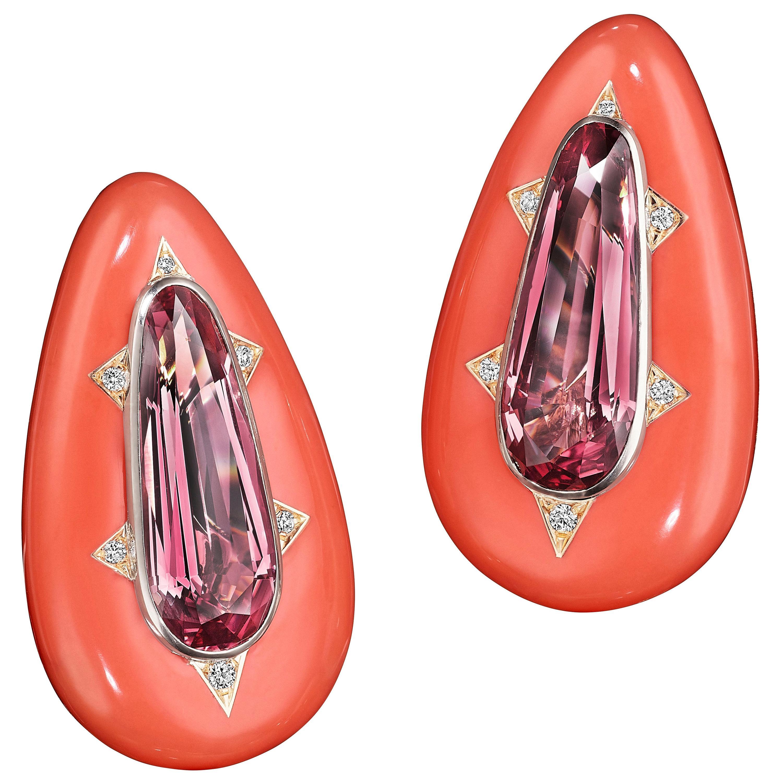 Siegelson Spinel Ceramic Diamond and Gold Chroma Ear Clip Earrings