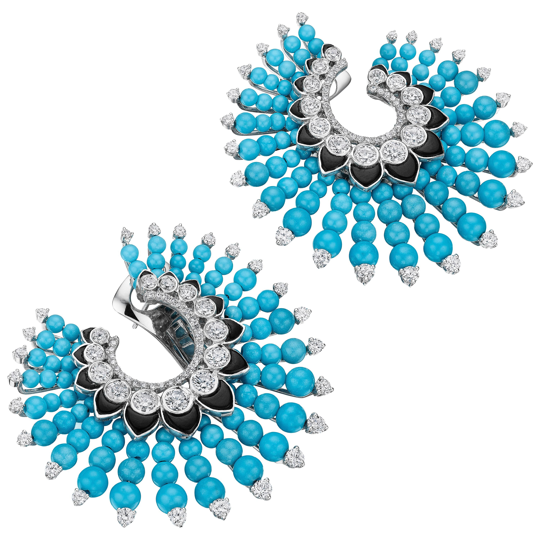 Siegelson Turquoise Diamond Onyx White Gold Spiral Hoop Earrings