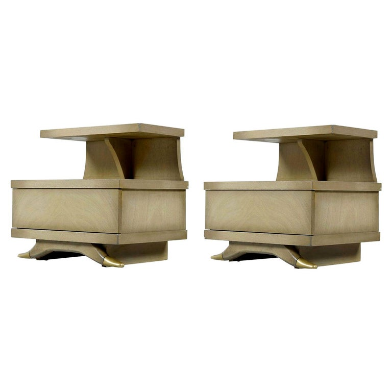 Sieling Modern Cerused Mahogany Art Deco Ash Gray Gold Accent Nightstands For Sale