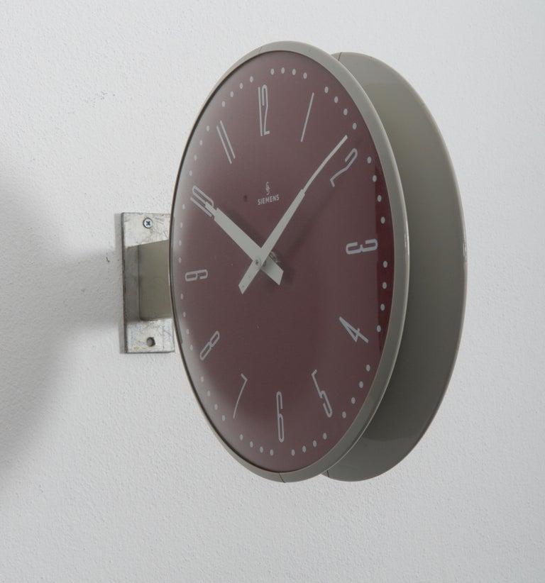 Industrial Siemens Halske Double Faced Train Station, Wokshop, Factory Clock For Sale