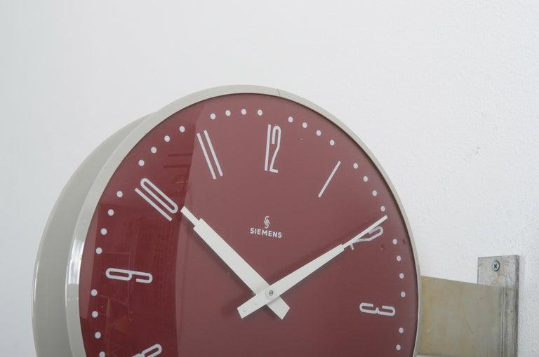 Steel Siemens Halske Double Faced Train Station, Wokshop, Factory Clock For Sale