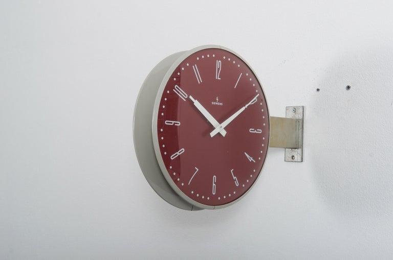 Siemens Halske Double Faced Train Station, Wokshop, Factory Clock For Sale 1