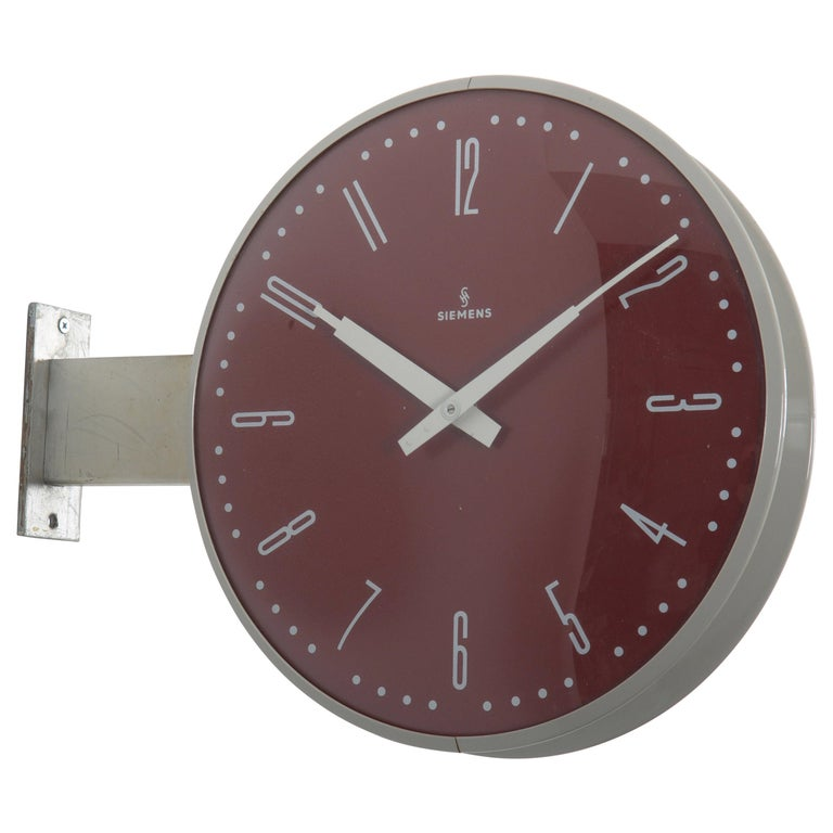 Siemens Halske Double Faced Train Station, Wokshop, Factory Clock For Sale
