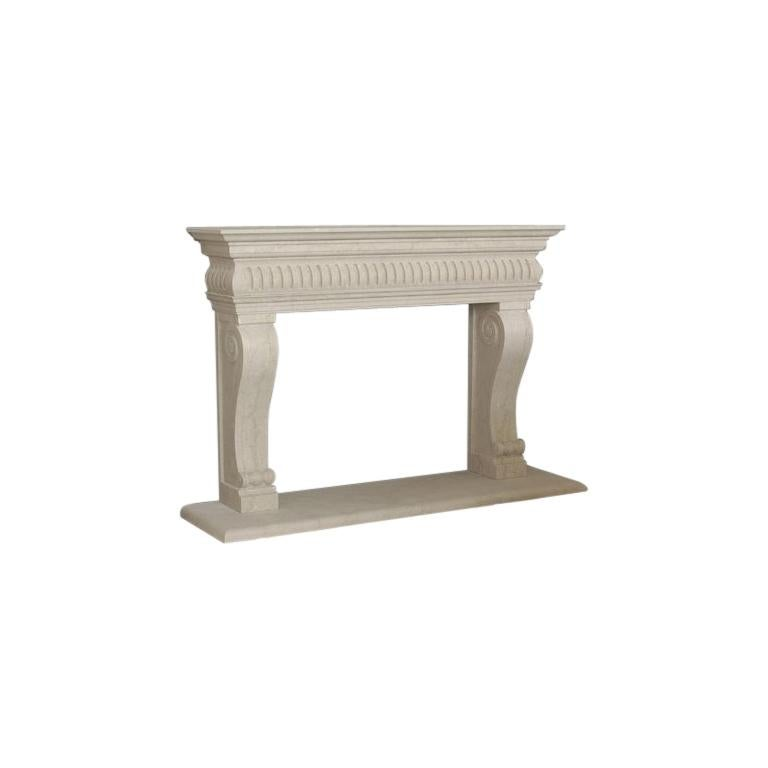 Siena Fireplace in Travertino Classico Marble by Kreoo For Sale