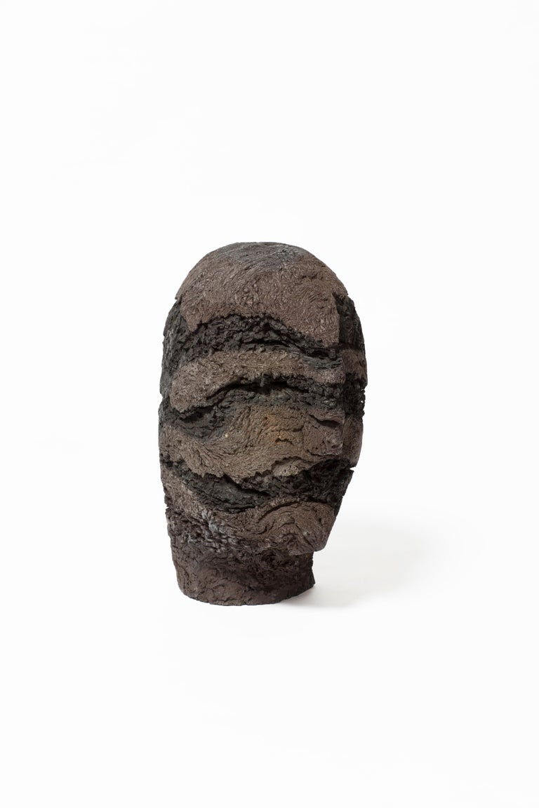 Textured clay head sculpture. Handmade and unique.
