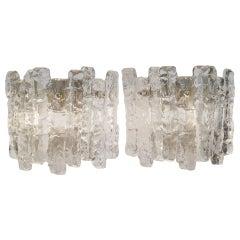 """Sierra"" Ice Glass Wall Sconces with Nickel Tone Backplate by Kalmar Franken KG"
