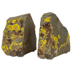Sierra Nevada Shale and Lichen Bookends