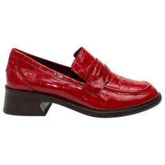 Sies Marjan Red Patent Leather Heeled Loafers