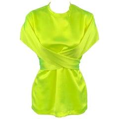 SIES MARJAN S/S 17 Size 4 Neon Yellow Satin Triacetate Wrap Around Nikki Top