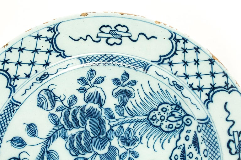 Sign by Ax, Mid-18th Century, Magnificent Faience Delft Round Dish For Sale 2