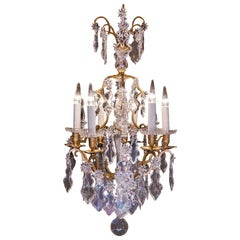 Sign by Baccarat, French Louis XV Style Gilt-Bronze & Cut Crystal Chandelier Cir