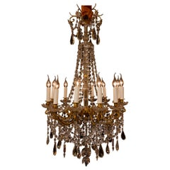 Sign by Baccarat French Louis XVI Style Bronze and Cut Crystal Chandelier