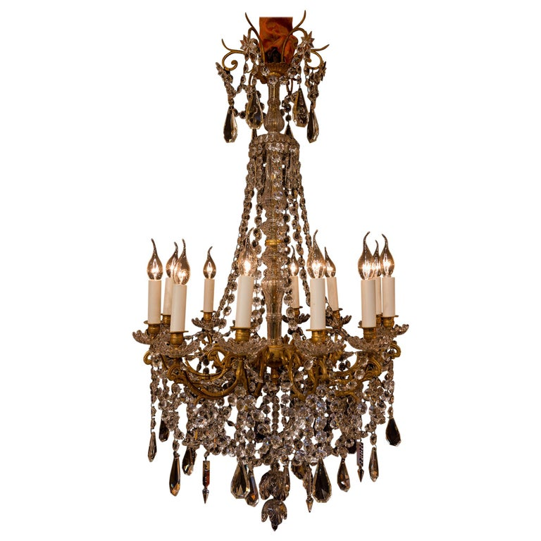Sign by Baccarat French Louis XVI Style Bronze and Cut Crystal Chandelier For Sale