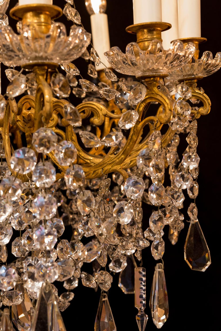 Sign by Baccarat French Louis XVI Style Bronze and Cut Crystal Chandelier For Sale 5