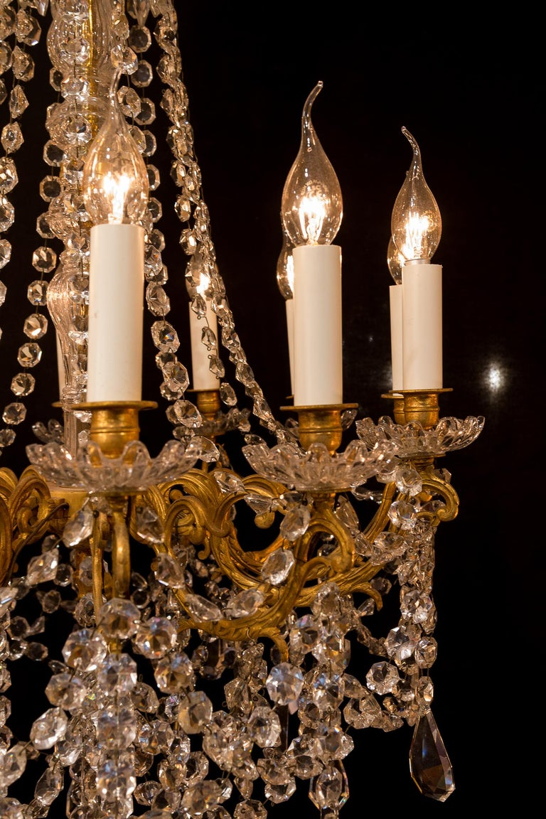 Sign by Baccarat French Louis XVI Style Bronze and Cut Crystal Chandelier For Sale 6