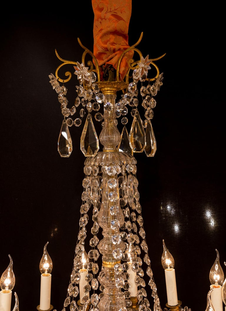 Gilt Sign by Baccarat French Louis XVI Style Bronze and Cut Crystal Chandelier For Sale