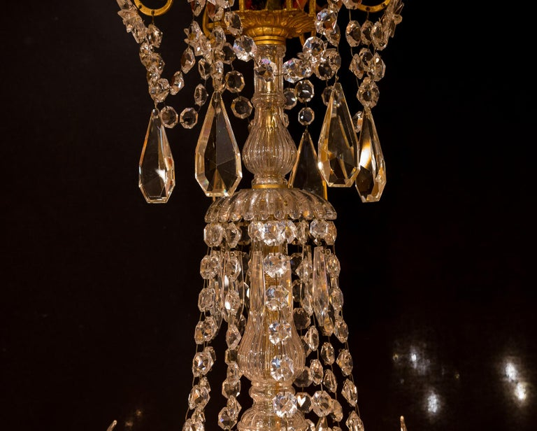 Sign by Baccarat French Louis XVI Style Bronze and Cut Crystal Chandelier In Good Condition For Sale In Saint Ouen, FR