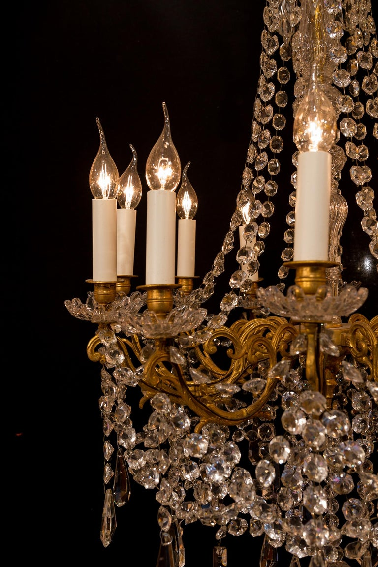 Sign by Baccarat French Louis XVI Style Bronze and Cut Crystal Chandelier For Sale 1