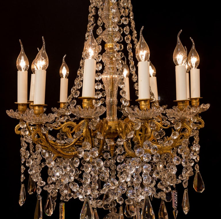 Sign by Baccarat French Louis XVI Style Bronze and Cut Crystal Chandelier For Sale 2