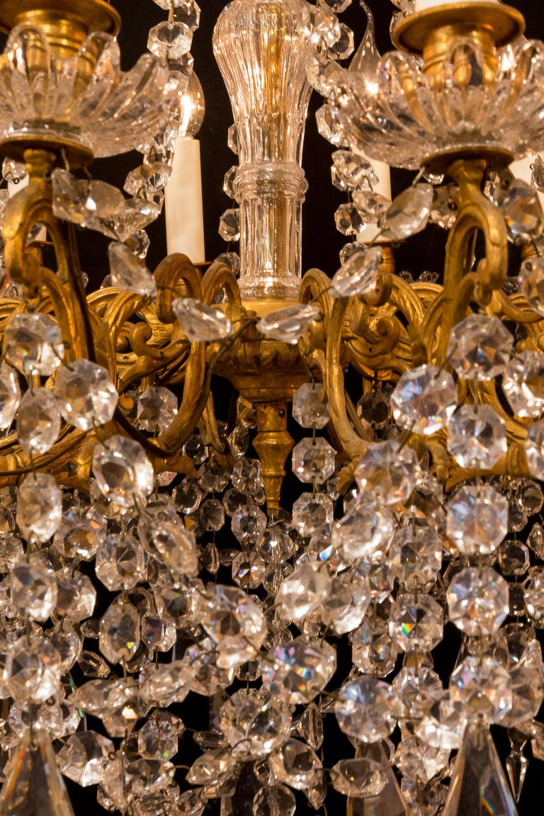 Sign by Baccarat French Louis XVI Style Bronze and Cut Crystal Chandelier For Sale 3