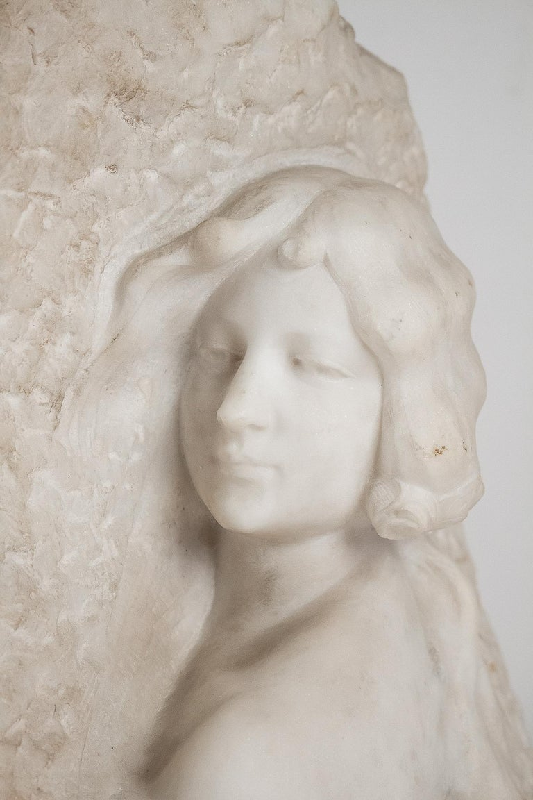 French Sign by Gory Affortunato White Carrara Marble Sculpture 'The Roses', circa 1900 For Sale