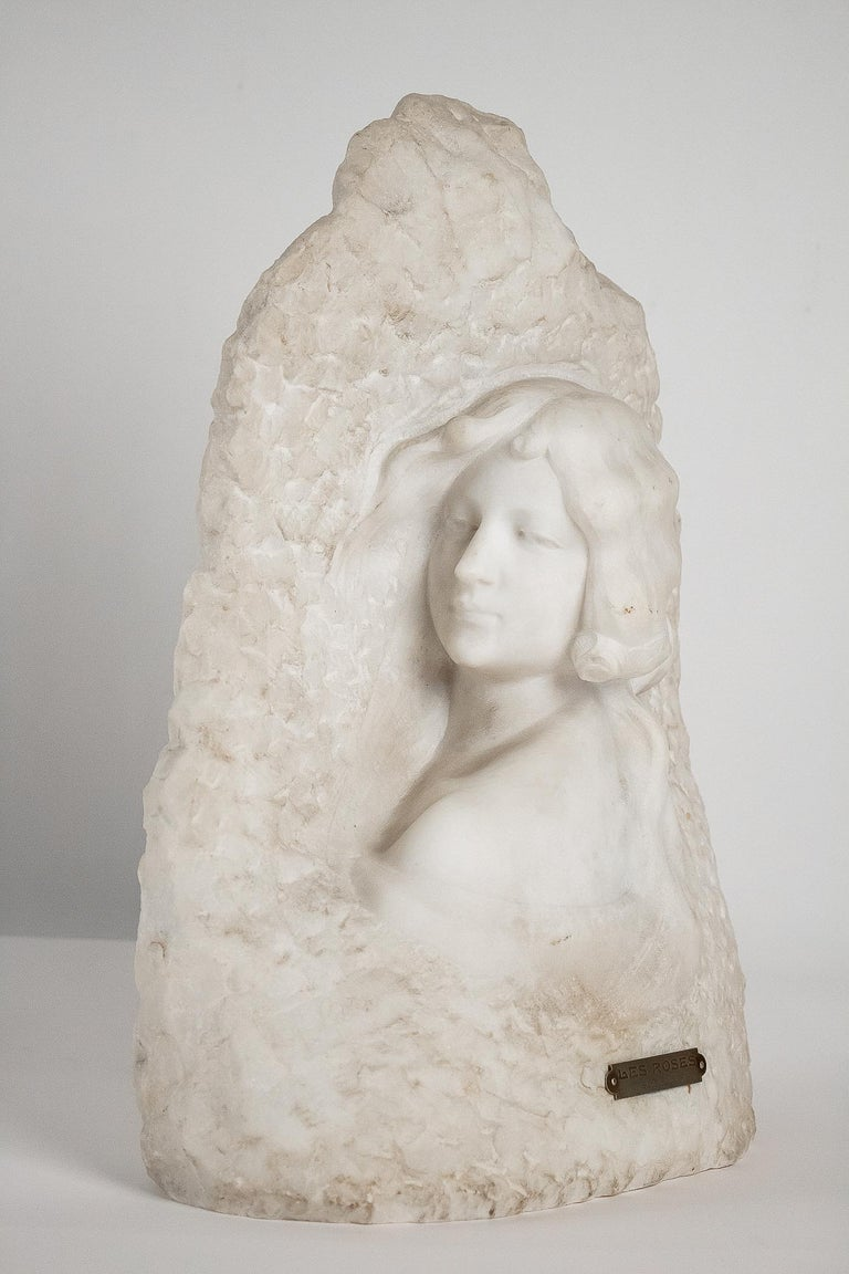 Hand-Carved Sign by Gory Affortunato White Carrara Marble Sculpture 'The Roses', circa 1900 For Sale