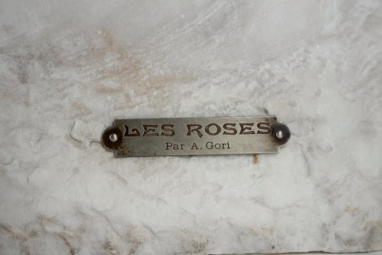 20th Century Sign by Gory Affortunato White Carrara Marble Sculpture 'The Roses', circa 1900 For Sale