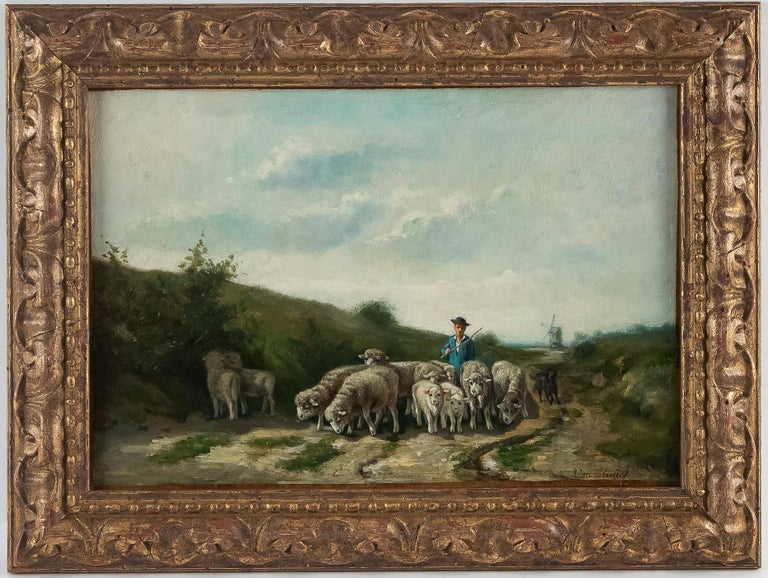 Sign by Van Cluyck Oil on Canvas Landscape view with sheep, circa 1860-1880.  A lovely and decorative oil on canvas, depicting Holland landscape view in spring, with sheep and characters.  Netherland school, signed by Van Duyck mid-19th century