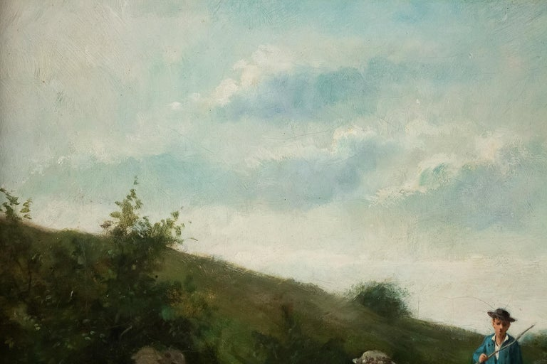 Painted Sign by Van Cluyck Oil on Canvas Landscape View with Sheep, circa 1860-1880 For Sale