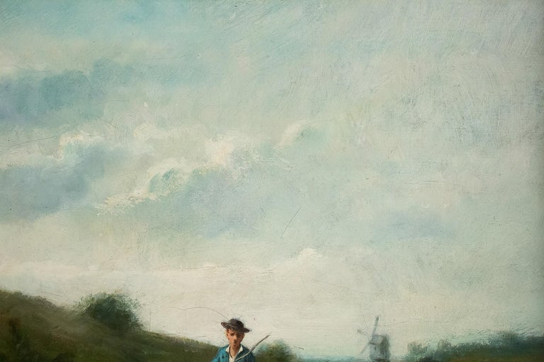 Sign by Van Cluyck Oil on Canvas Landscape View with Sheep, circa 1860-1880 In Good Condition For Sale In Saint Ouen, FR