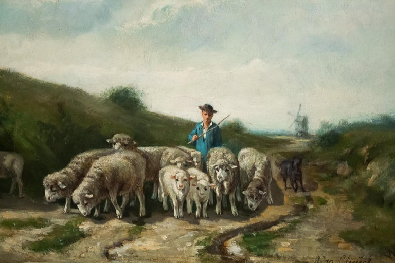 19th Century Sign by Van Cluyck Oil on Canvas Landscape View with Sheep, circa 1860-1880 For Sale