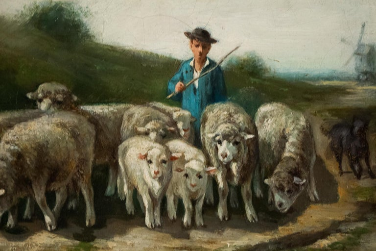 Sign by Van Cluyck Oil on Canvas Landscape View with Sheep, circa 1860-1880 For Sale 1