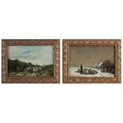 Sign by Van Cluyck Pair of Oil on Canvas Landscape Views with Sheep, circa 1860