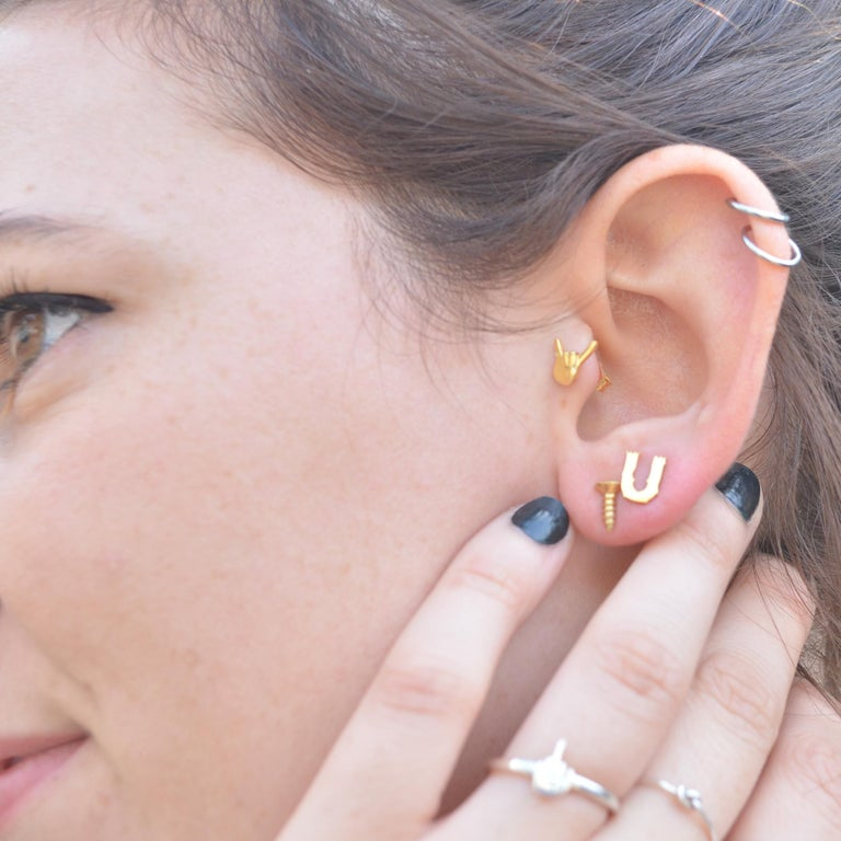 Contemporary Wendy Brandes Sign of the Horns Rock n Roll Single Emoji Stud Earring, 18K Gold For Sale