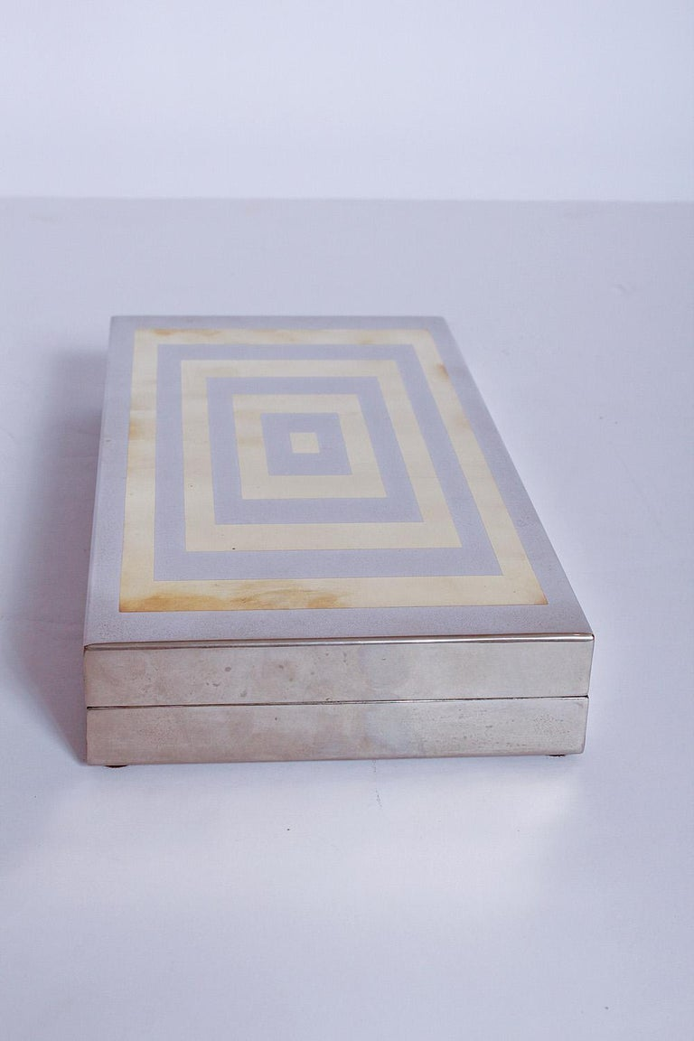Mid-Century Modern Sign Romeo Rega Brass and Chrome Box, 1970s, Italy For Sale