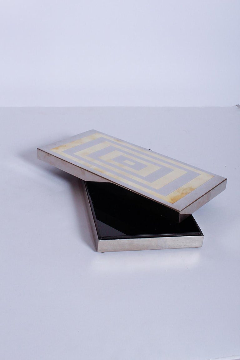 Polished Sign Romeo Rega Brass and Chrome Box, 1970s, Italy For Sale