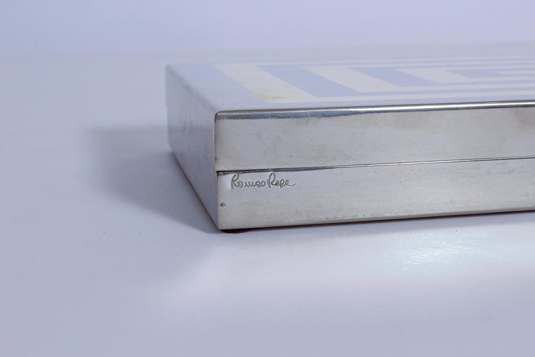 Late 20th Century Sign Romeo Rega Brass and Chrome Box, 1970s, Italy For Sale