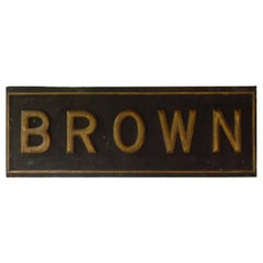 Sign Used for Advertising, Late 1800s, Giltwood on Metal, BROWN