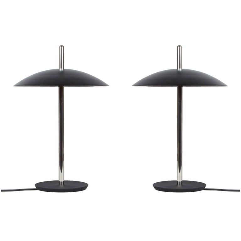Customizable Pair of Signal Table Lamps from Souda, Black/Nickel, Made to Order For Sale