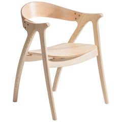 Signature Chair, Ash Hardwood with Natural Leather Backrest by Lutz Furniture