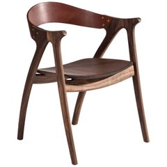 Signature Chair, Contoured Hardwood with Leather Backrest by Lutz Furniture