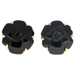 Signature Chanel Onyx Camellia Earrings Set in 18 Karat Yellow Gold