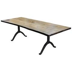 Signature Maple Live Edge Slab Table Driftwood Finish Steel Wishbone Legs