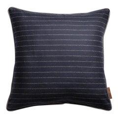 Signature Stuart Scott Navy Stripe Wool Cushion