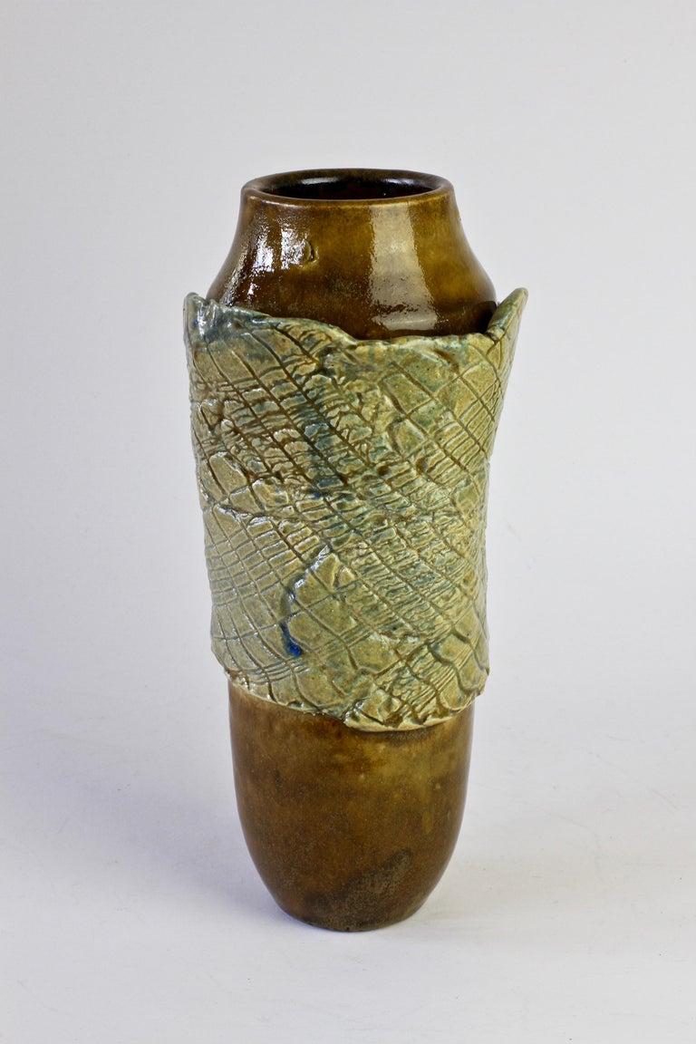 Glazed Signe Pistorious-Lehmann Organic German Art Studio Pottery Vase, circa 1980s For Sale